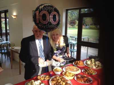 Bill and granddaughter Julie start the Buffet - Knyveton Gardens Bowls Club