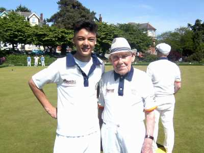 Lewis Brimble (16 years old) with Bill Taylor (100 years old) Sunday 29th May 2016 - Knyveton Gardens Bowls Club